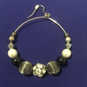Silver hoops with bead detail